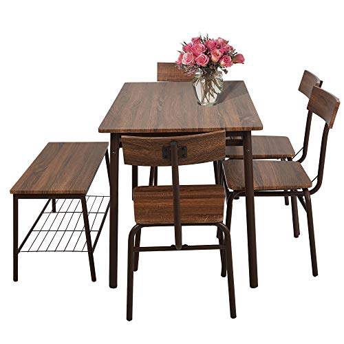 LUCKYERMORE 6 Piece Dining Room Table Set with Bench Compact Wooden Kitchen Table and 5 Chairs with Metal Legs Dinette Sets (Set 6 Dining Piece)