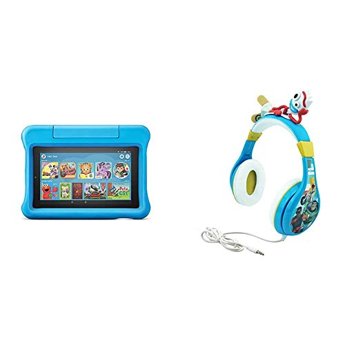 Fire 7 Kids Edition Tablet (Blue) + Toy Story Headphones (Forky)