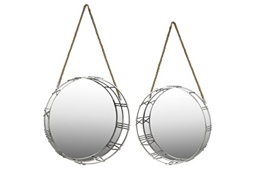 Urban Trends Metal Round Wall Mirror with Roman Numeral Frame and Rope Handle (Set of 2), Silver