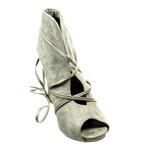 Angkorly Women's Fashion Shoes Ankle Boots - Booty - Sexy - Open - Thong Stiletto High Heel 10 cm Grey a4GYxV