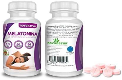 Melatonina 0,5mg con vitamina B6, 60 comprimidos de melatonina masticable sublingual con sabor a fresa, regula el ciclo del sueño, ideal para el jet lag. NOVONATUR.: Amazon.es: Salud y cuidado personal