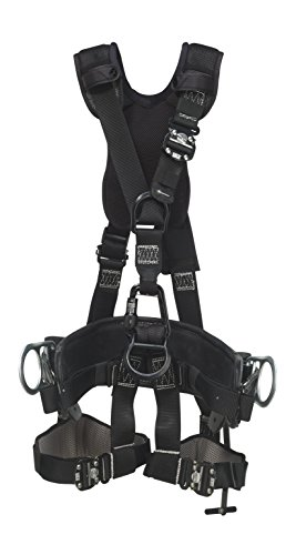 3M DBI-SALA 1113560 Suspension Style Harness, Alum Front/Back D-Rings, Locking Quick-Connect Buckles, Top Grain Leather, 2D D-Size 21 Linemen Belt, Small