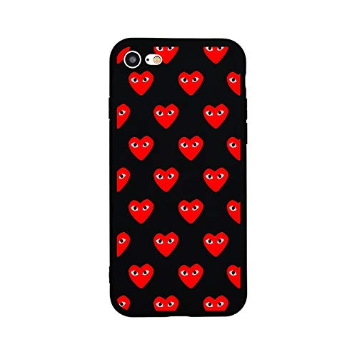 shion Soft TPU Silicon Case for iPhone 6 6s Plus 7 8 Plus X 5s 5 SE Phone Bag Cover CDG PLAY Red Hearts Black Cases ()