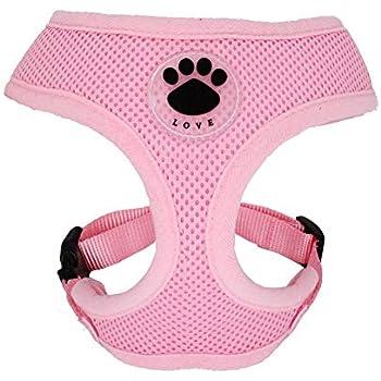WONDERPUP Soft Mesh Dog Harness No Pull Walking Comfort Padded Vest Harnesses Adjustable Pink L