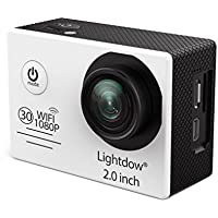 Lightdow LD6000 WiFi 1080P HD Sports Action Camera Bundle with DSP:Novatek NT96655 Chip, 2.0-Inch LTPS LCD, 170° Wide Angle Lens and Battery (White+WiFi)