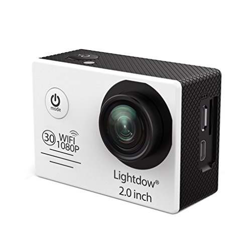 Lightdow LD6000 Wifi 1080P HD Sports Action Camera Kit - App Remote Control 30m Waterproof 2.0 Inch LCD Screen 170 Degree Wide Angle 2 Rechargeable Batteries and Mounting Accessories (White+WiFi)