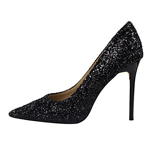 fereshte Women's Fashion Sexy Sparkling Sequins Pointed Toe Stilettos High Heels Pumps For Party Black 5cDd0lZ