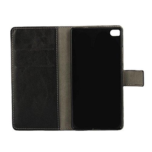 COOLKE Retro PU Leather Wallet With Card Pouch Stand de protección Funda Carcasa Cuero Tapa Case Cover para Huawei P8 - azur Negro