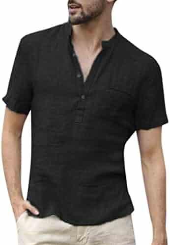 f57cb3d455f POQOQ T Shirts Tops Blouse Men Baggy Cotton Linen SOID Color Short Sleeve  Retro