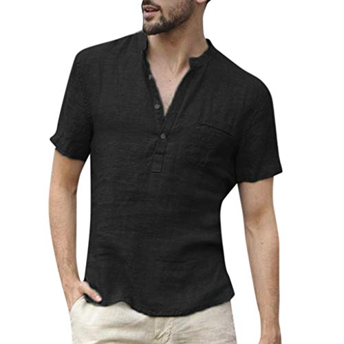 Solid Color Linen Short-Sleeved Shirt,Men Baggy SOID Short Sleeve Blouse Retro Tops Black -