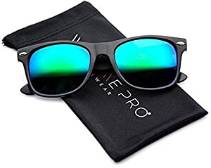 Polarized Flat Mirrored Reflective Revo Color Lens Large Horn Rimmed Style Sunglasses