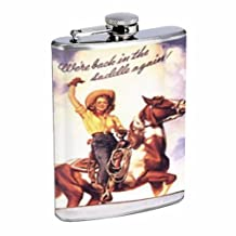 Western Pin Up Girl With Horse Flask 8oz Stainless Steel D-240 by Perfection In Style