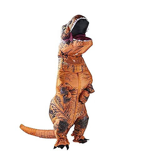 POTEGAR Inflatable Clothing t-rex Dinosaur inflate Tyrannosaurus Costumes Cosplay Clothes for Adults (Brown) -