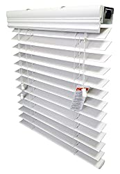 """US Window And Floor 2"""" Faux Wood Blind, Inside-Mount, 34 5/8 W X 60"""" H, White"""