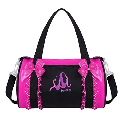 YiZYiF Kids Girls Ballet Dance Bag Bowknot Ruffled Lace Embroidered Duffle Bag Shoulder Gym Bag with Detachable Strap