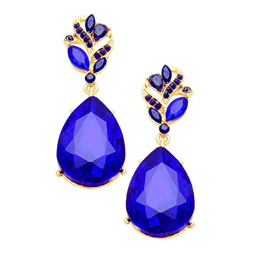 Rosemarie Collections Women's Glass Crystal Teardrop Statement Earrings (Gold Tone/Cobalt Blue)