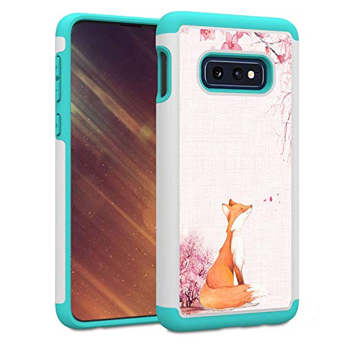 Galaxy S10E Case, Galaxy S10 Lite Case, Skyfree Shockproof Heavy Duty Protection Hard PC & Soft TPU Hybrid Dual Layer Protective Phone Case for Samsung Galaxy S10E,Fox Cherry Blossoms