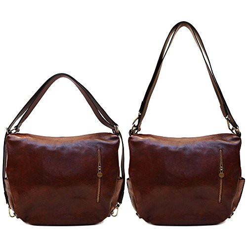Vecchio Leather Shoulder Saddle Brown Bag Bag Roma Crossbody Hobo Convertible 5x0nx8zY