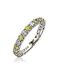 Bling Jewelry Simulated Citrine and Clear CZ Stackable Eternity Band Ring 925 Sterling Silver