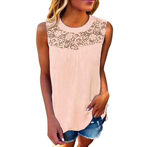 (Yoyorule Summer Clothes-Top&Dress Women Casual Lace Sleeveless Crop Top Vest Tank Shirt Blouse Cami Top Pink)