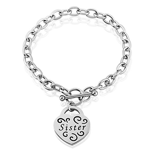 Engraved Toggle (Women's Stainless Steel Engraved 'Sister' Heart Charm Bracelet with 7.5 inches Cable Chain)