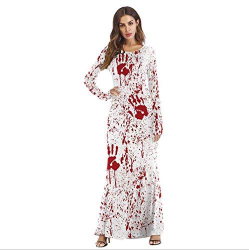 SHANGXIAN Woman Party Halloween Fancy Dress Costume Horror Spattered Print Dresses,L/XL