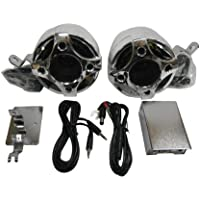 Shark Motorcycle Audio, 100 Watt 2 Channel Speaker kit, MP3 or Phone Input, Small Vintage Style Powerful Amp, Chrome, Model Shkcyclekit