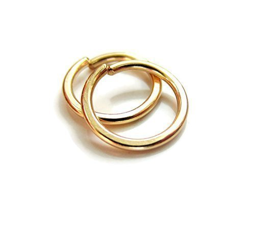 14K Gold Cartilage Rings Small Hoop Earrings 18Gauge 8mm Snug Fit Size One Pair by DesignedbyGrace