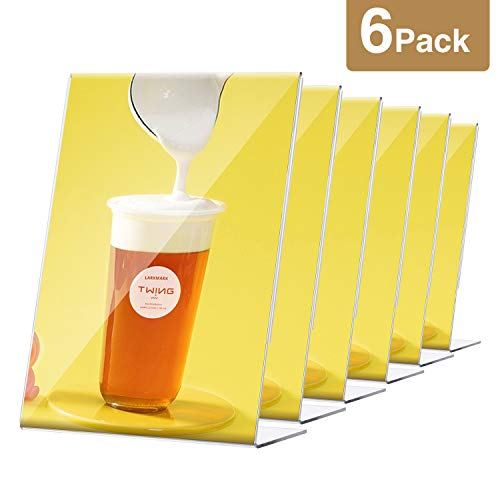 TWING Acrylic Sign Holder 8.5 x 11 Table Stands for Signs 6 pcs Table Sign Holder Acrylic Clear Frames Stands for Display