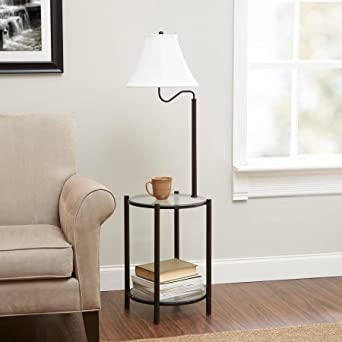 Mainstays Transitional Glass End Table Lamp Matte Black Amazon Com