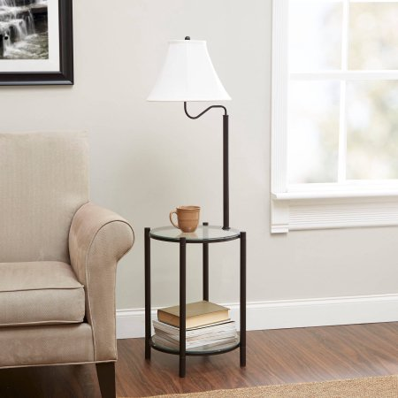 Mainstays Transitional Glass End Table Lamp, (Matte Black, 1 Pack)