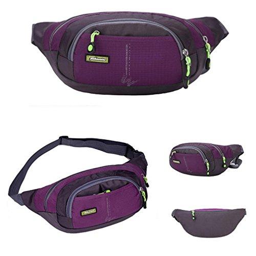 Running Bum Bag,Morecome Travel Handy Hiking Sport Waist Belt Zip Pouch,Fanny Pack (Purple)