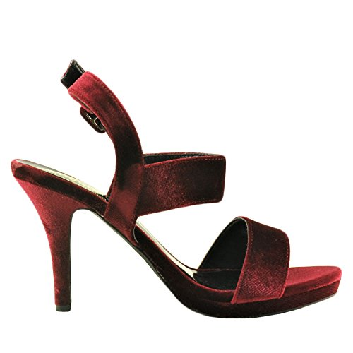 Blossom A Robin 223 Womens Open-Toe Strappy Buckle Velvet Heel Wine OBC9cAuG