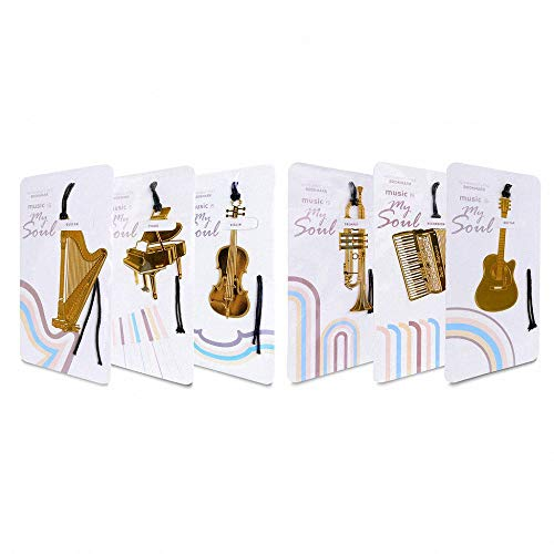 (6 Pcs Musical Metal Bookmarks Set - Amupper Cuted 18k Gold Plated Stainless Steel Book Mark for Music Lover )