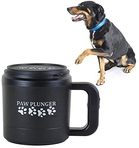 (Paw Plunger For Dogs - Portable Paw Cleaner For Medium Sized Dogs - Ideal For Dogs Weighing 15-75lbs - an Easy To Use Device To Save Your Home / Furniture / Carpet / Vehicle From Muddy Paws - Black)