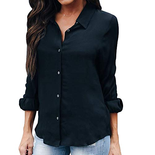 OMSJ Womens Button Down Shirts Long Sleeve Chiffon Office Casual Blouses (XXL, Black) (Sleeve Black Long Sexy)