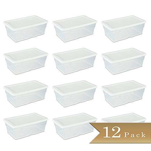 Set of 12 - TrueCraftware Clear Storage Bin with White Lid - 6 Quarts