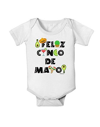 TooLoud Feliz Cinco de Mayo - Fiesta Icons Baby Romper Bodysuit - White - 6 Months -