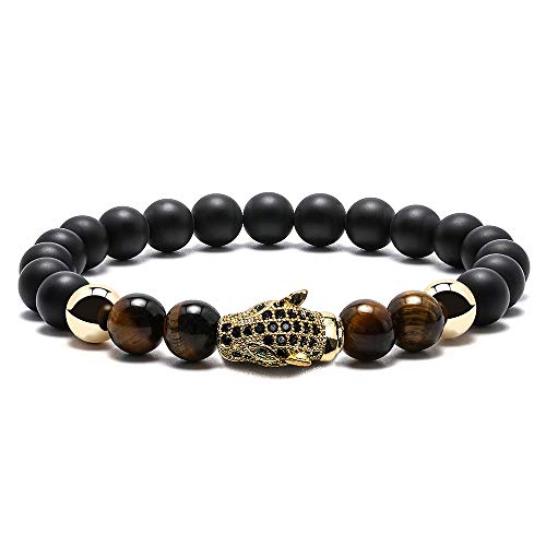 Gold Leopard Mens Bracelet - 8mm Natural Tiger Eye Stone Black Matte Agate Bead Bracelet for Men Stress Relief Yoga Bead Healing Bracelet Gold Leopard Bracelet Grandpa Gifts Papa Gifts Dad Gifts