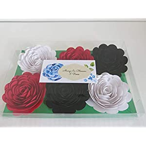 """Black, Red & White Paper Roses, 3"""" Paper Flower Blooms, Set of 6 Big Wedding Flowers, Bridal Shower Decor, Mad Hatter Theme Tea Party Decorations, Always In Blossom 2"""