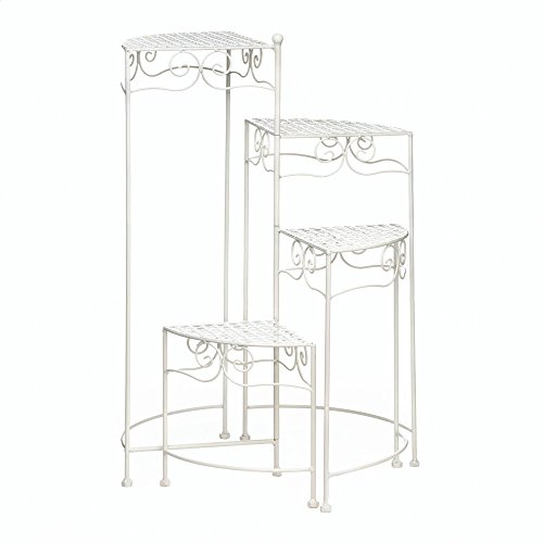 (Summerfield Terrace 10018035 Iron Multi Tiered Four Shelves Plant Stands Indoor White 4)