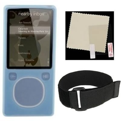 Microsoft Zune 4GB 8GB Blue Silicone Skin Case With Black Adjustable Sports Armband And LCD Screen Protector