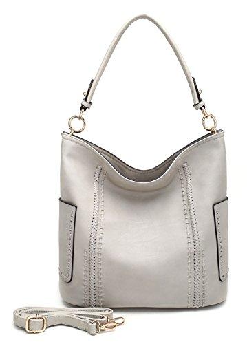 Hobo Light - MKF Collection Betty Woman's Shoulder Hobo Designer Handbag (Light Grey)