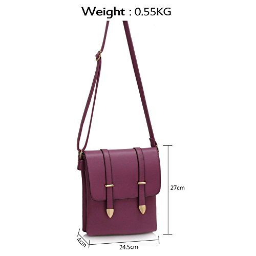 Lws00470 24 Messenger Cross LeahWard Bags Body Handbag Style LWS00470 Celeb Women's purple Ladies Shoulder 5x4x27cm Bag 7qw16gq