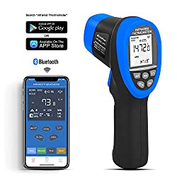 HOLDPEAK HP-985C-APP Digital Laser Infrared Thermometer Connect to Your Phone via Bluetooth,Non-Contact IR Temperature Gun -58?~1472?(-50?~800?),16:1 Distance Spot Ratio with Adjustable Emissivity