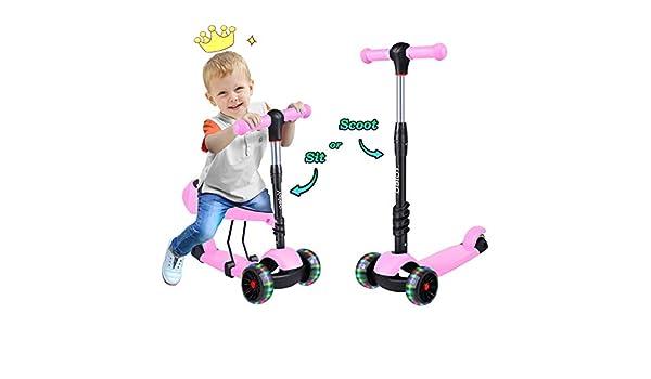 Yoleo Kick Scooters para niños, 2 en 1 Patinete con 3 Ruedas ...