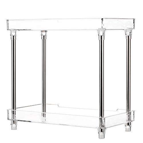 Blusea Makeup Organizer, Multi-Functional 2-Tier Cosmetic Organizer Tray Storage Shelf Caddy Stand for Bathroom Vanity Countertop (Vanity Perfume 2 Tier Tray)