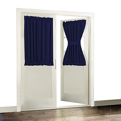 Aquazolax Thermal Insualted French Door Curtain Drapes Readymade Solid Blackout Glass Door Side Panels 54x40 Inches Privacy with Tiebacks - 1 Pair, Navy Blue ()