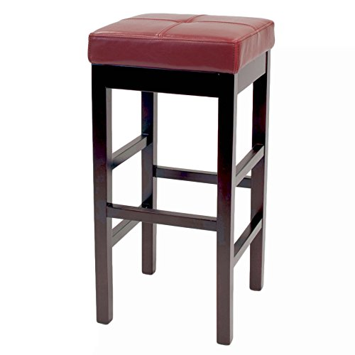 New Pacific Direct 108627-67 Valencia Backless Bicast Leather Counter Stool Furniture Red