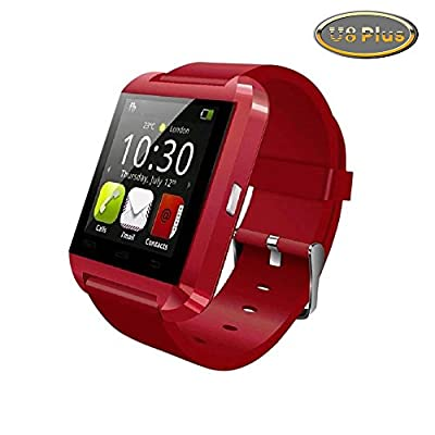 Luxsure®Upgraded Version Bluetooth Smart Watch WristWatch U8 Plus UWatch Fit for Smartphones IOS Android Apple iphone 4/4S/5/5C/5S Android Samsung S2/S3/S4/Note 2/Note 3 HTC Sony Blackberry (Red-U8 Plus)